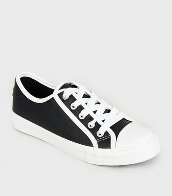 Girls Black Contrast Trim Lace Up Trainers