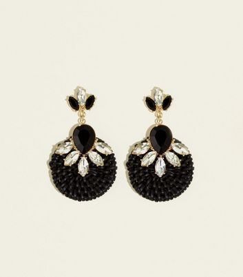 Black Crystal Raffia Earrings