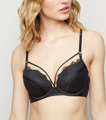 Black Floral Eyelash Lace Strappy Push-Up Bra