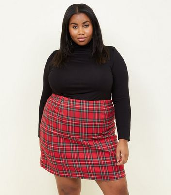 Curves Red Tartan A-Line Mini Skirt