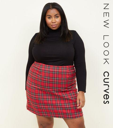 f7c536d9a0 ... Curves Red Tartan A-Line Mini Skirt ...