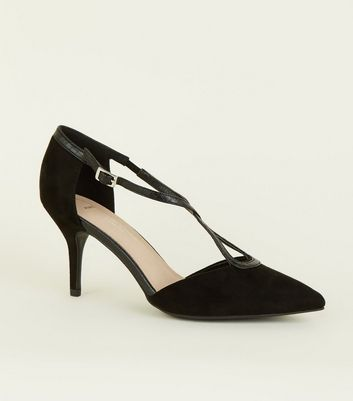 Wide Fit Black Comfort Flex Suedette Cross Strap Heels