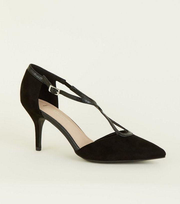 1a5a75e0a93bf1 Wide Fit Comfort Flex – Schwarze High Heels mit überkreuzten ...