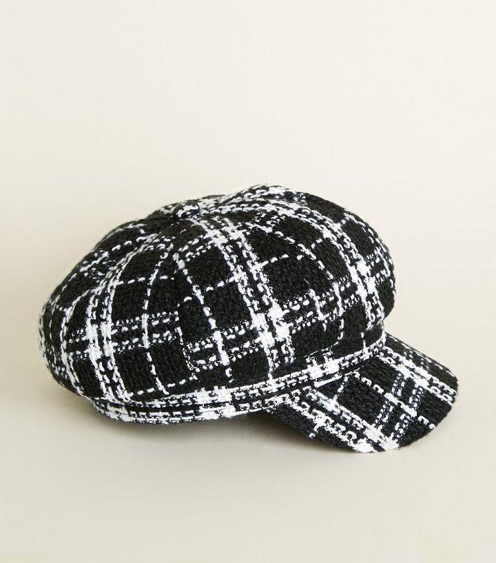 7f7ecb23bb7 Black Bouclé Check Baker Boy Cap