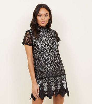 Mela Black Scallop Lace High Neck Dress
