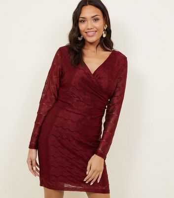 Mela Burgundy Lace Chain Pattern Dress