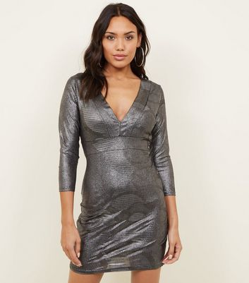 Mela Silver Metallic Bodycon Dress