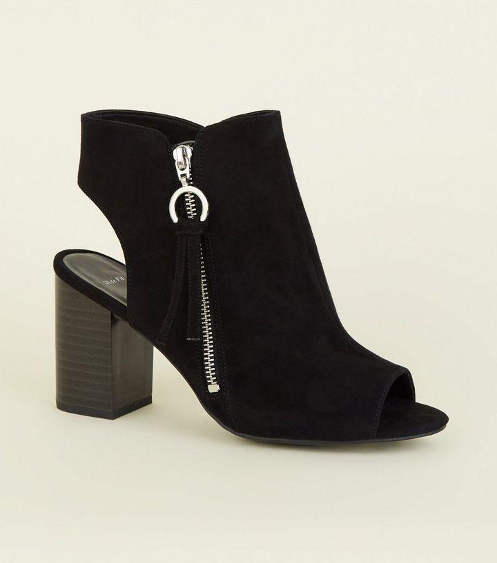 78b8ec09699cf Wide Fit Black Ring Zip Peep Toe Heels | New Look