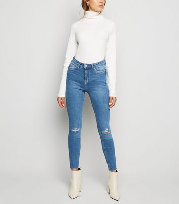 Blue Ripped Knee High Waist Super Skinny Jeans