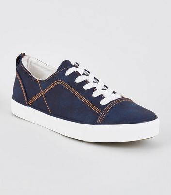Navy Contrast Stitch Lace-Up Trainers