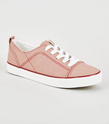 Pink Contrast Stitch Lace-Up Trainers