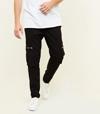 Black Cargo Zip Leg Pocket Trousers