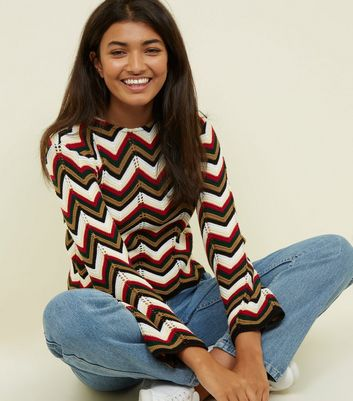 Cameo Rose White Zig Zag Pointelle Jumper