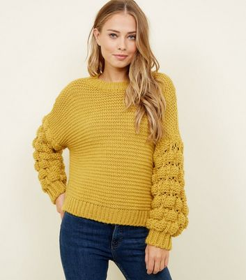 Cameo Rose Mustard Bubble Sleeve Jumper