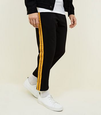 Black Side Yellow Tape Joggers