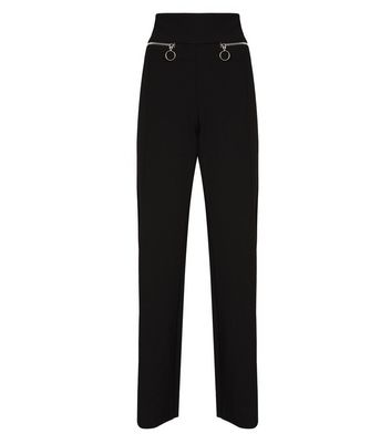 Cameo Rose Black Zip Pocket Trousers New Look