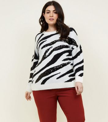 Curves Black Zebra Sequin Jumper