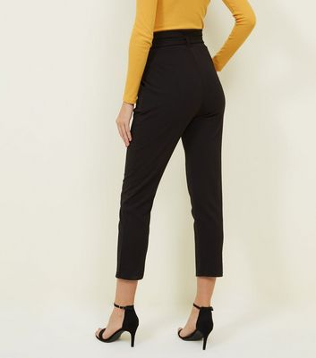 Cameo Rose Black D-Ring Tapered Trousers New Look