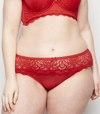 Curves Red Eyelash Lace Thong