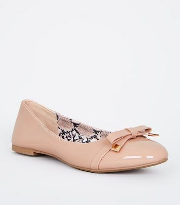 Pink Snake Print Insole Bow Ballet Pumps