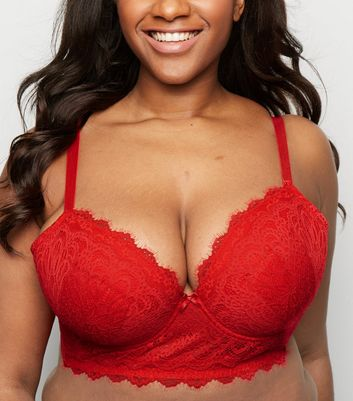 Curves Red Eyelash Lace Longline Bra