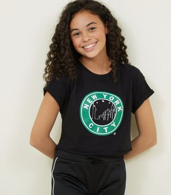 Girls Black New York Circle Print T-Shirt