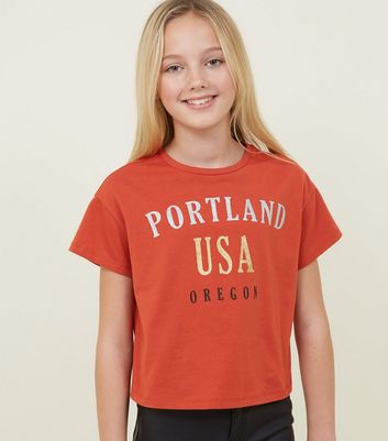 Girls Orange Portland Glitter Slogan T-Shirt