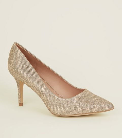 1de5df3a73f ... Gold Glitter Pointed Stiletto Heel Courts ...
