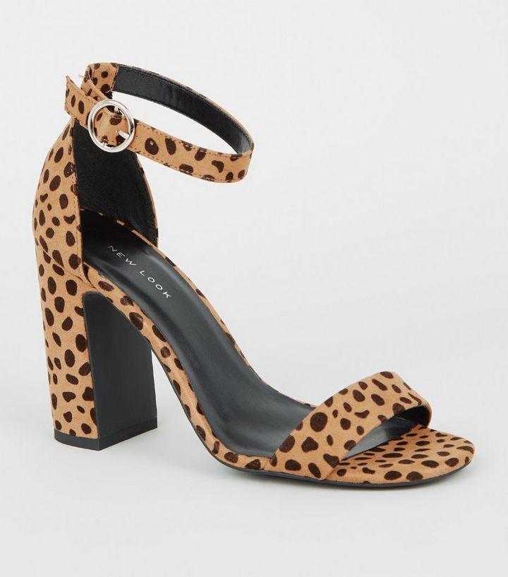 dd326ba0cf05 Brown Suedette Animal Print Block Heels | New Look
