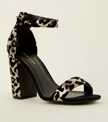 Silver Flocked Leopard Pattern Block Heels