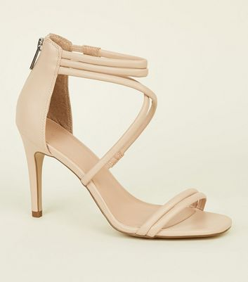 Nude Tube Strap Stiletto Sandals
