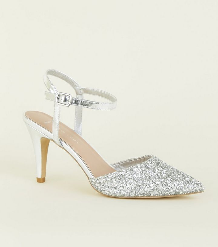 132580be753 Wide Fit Silver Glitter Stiletto Heels
