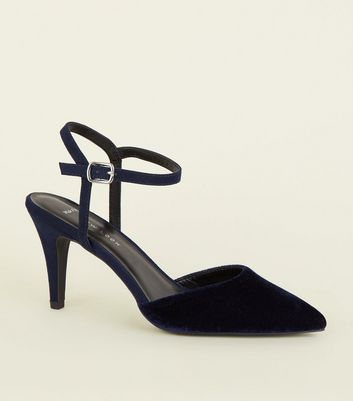 Wide Fit Navy Velvet Pointed Court Shoes
