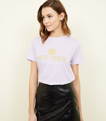 Lilac New York Embroidered T-Shirt