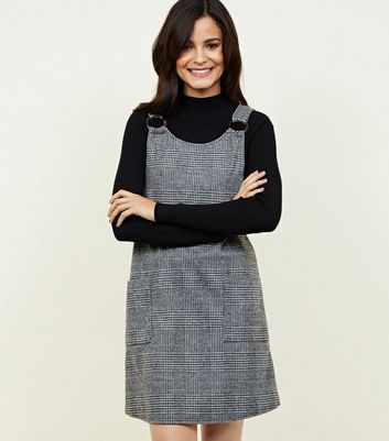 Grey Brushed Houndstooth Round Buckle Pinafore Dress