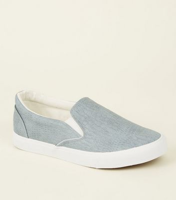 Pale Blue Faux Croc Slip On Trainers