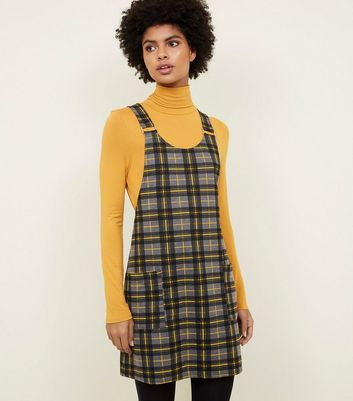 Yellow Check Buckle Strap Pinafore Dress