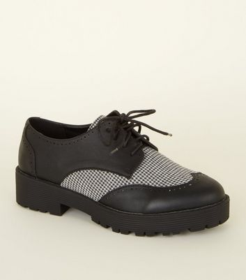 Black Houndstooth Panel Chunky Shoes