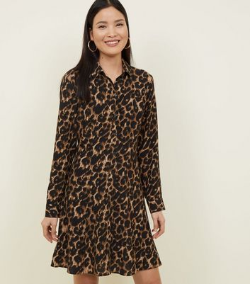 Brown Leopard Print Crepe Shirt Dress