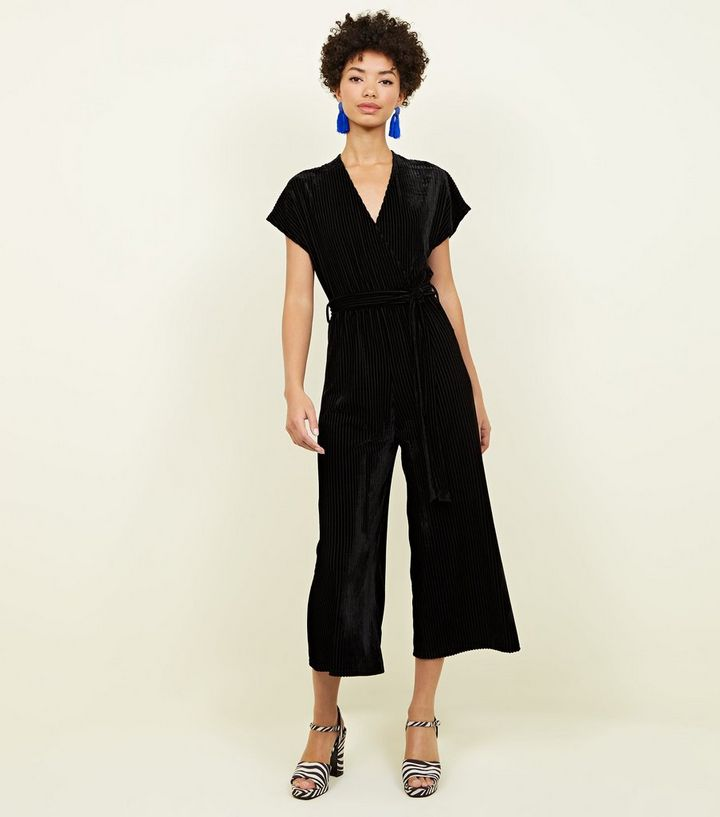 5325927fee00 Black Ribbed Velvet Wrap Culotte Jumpsuit. Add to Saved Items