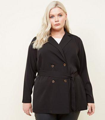 Curves Black Double Breasted Tie Waist Shacket