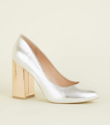 Wide Fit Silver Faux Snake Flare Heel Courts