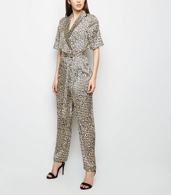 Gold Leopard Print Satin Wrap Jumpsuit New Look
