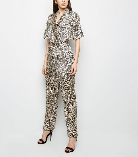 ef12982a788 ... Gold Leopard Print Satin Wrap Jumpsuit ...
