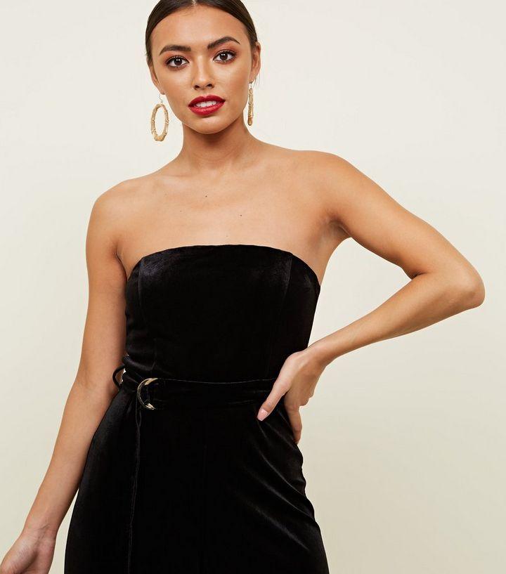 67780324e40 Black Velvet Strapless Belted Jumpsuit