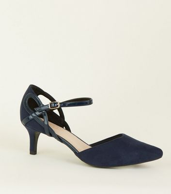 Wide Fit Navy Comfort Flex Cut Out Kitten Heels
