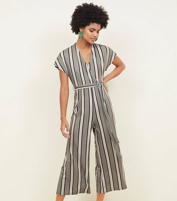 Tall Green Stripe Ribbed Wrap Jumpsuit