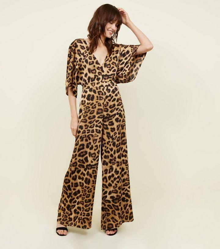 bedaed1a32 Brown Leopard Print Satin Kimono Sleeve Jumpsuit