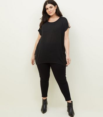 Blue Vanilla Curves Black Rainbow Tape T-Shirt New Look