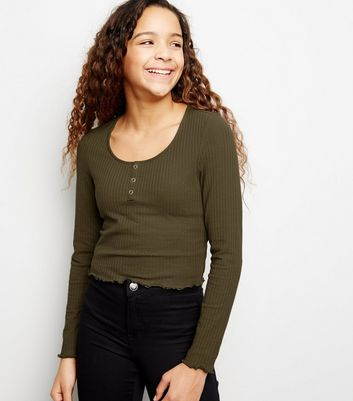 Girls Khaki Ribbed Popper Front Long Sleeve Top